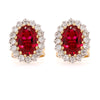 9ct Yellow Gold Vintage Style Created Ruby & Diamond Cluster Earrings - Duffs Jewellers