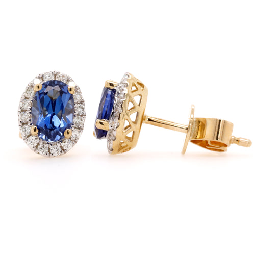 9ct Yellow Gold Created Sapphire & Diamond Halo Style Earrings - Duffs Jewellers