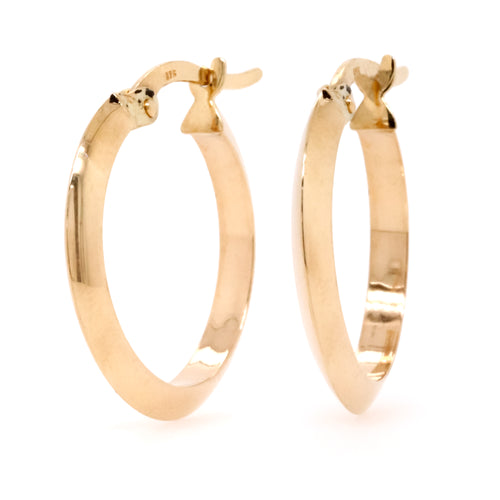 9ct Yellow Gold Medium Tapered Hoop Earrings - Duffs Jewellers