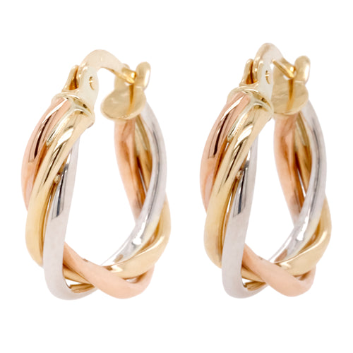 9ct Yellow White And Rose Gold Earrings - Duffs Jewellers