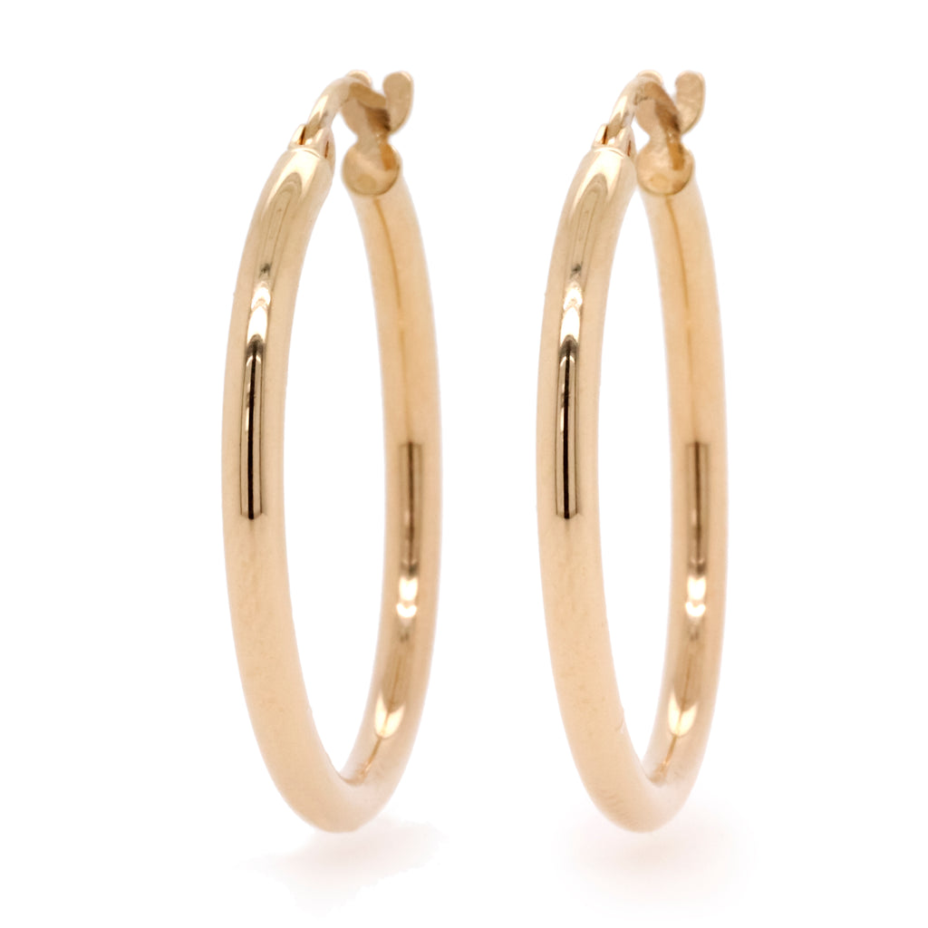9ct Yellow Gold Medium Hoop Earrings - Duffs Jewellers