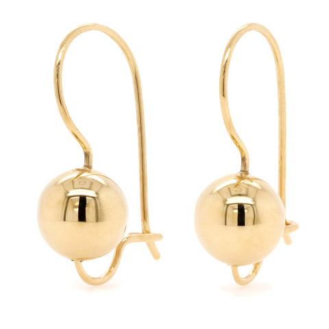9ct Yellow Gold Euro Ball Earrings