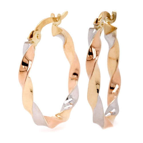 9ct Yellow White And Rose Gold Twist Style Hoop Earrings - Duffs Jewellers