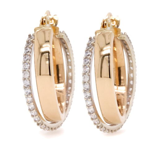 9ct Yellow And White Gold Crossover Style Hoop Earrings - Duffs Jewellers