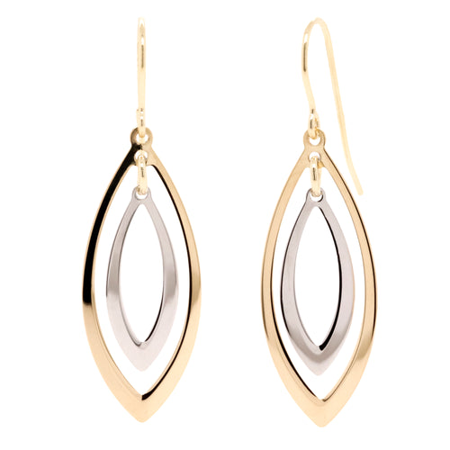 9ct Yellow And White Gold Drop Earrings - Duffs Jewellers
