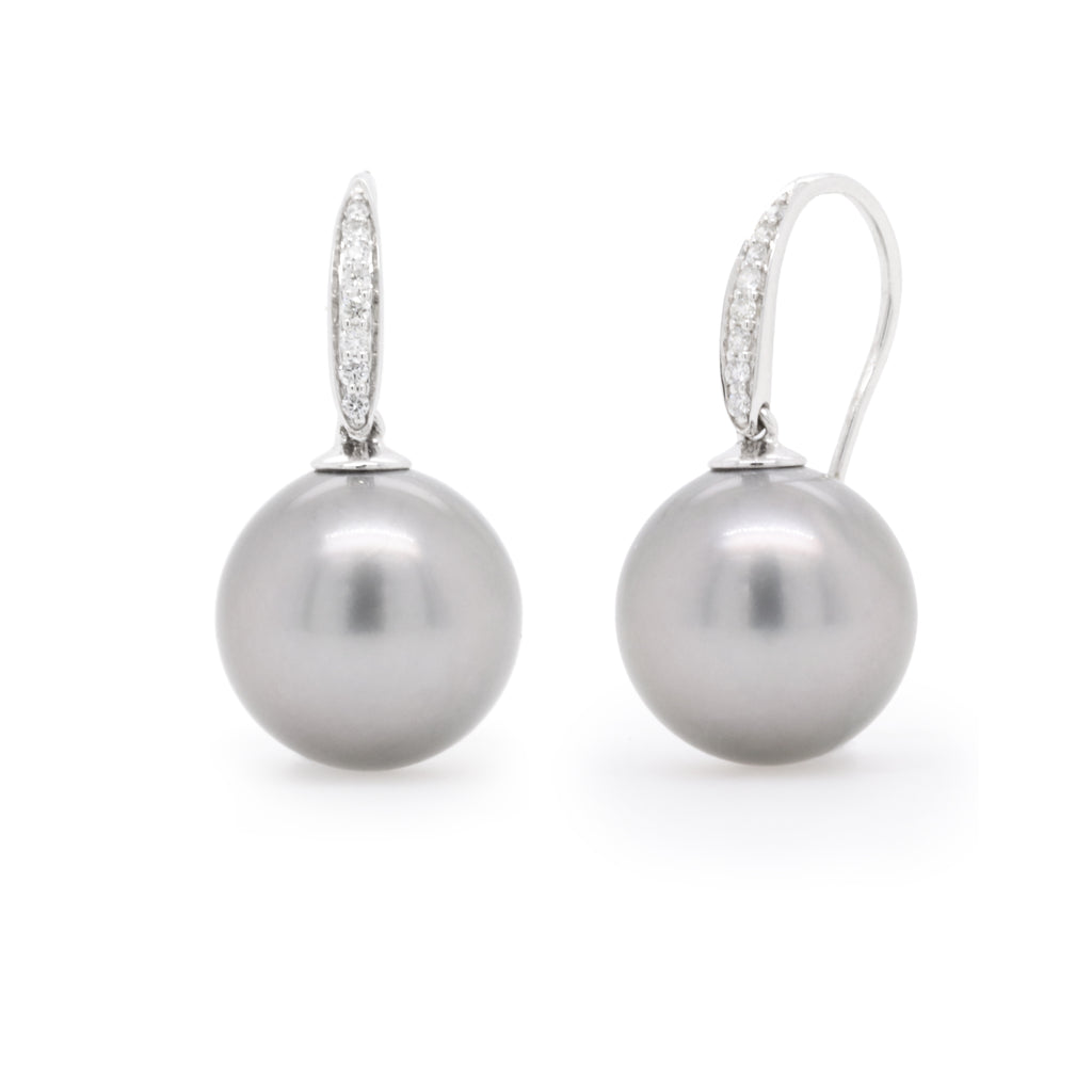 White gold Tahitian pearl and diamond drop earrings - Duffs Jewellers