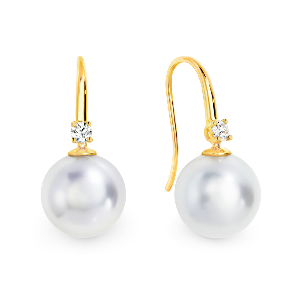 South seas pearl and diamond earings
