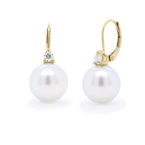 Yellow gold South Seas pearl and diamond drop earrings - Duffs Jewellers