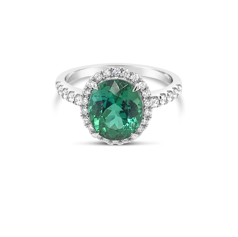 Green Tourmaline halo ring - Duffs Jewellers