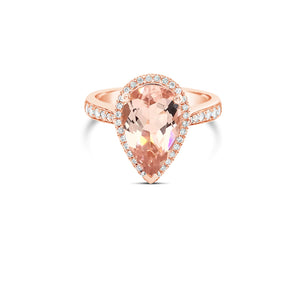 Rose gold Pear Cut Morganite ring