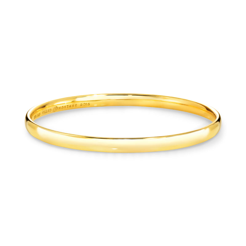 9ct Yellow gold silver filled bangle 4.5mm wide