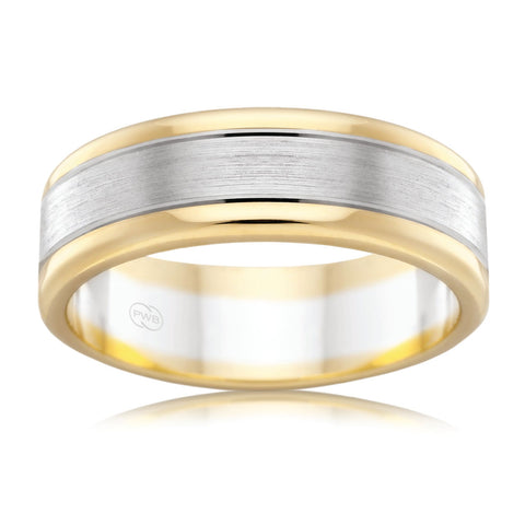9ct White & Yellow Gold  6.5mm Two Tone Faceted Wedding Ring
