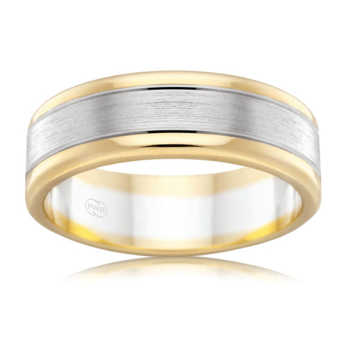 9ct White & Yellow Gold  6.5mm Two Tone Faceted Wedding Ring - Duffs Jewellers