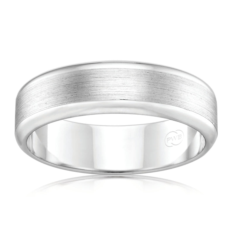 9ct White Gold 7mm Faceted Wedding Ring - Duffs Jewellers