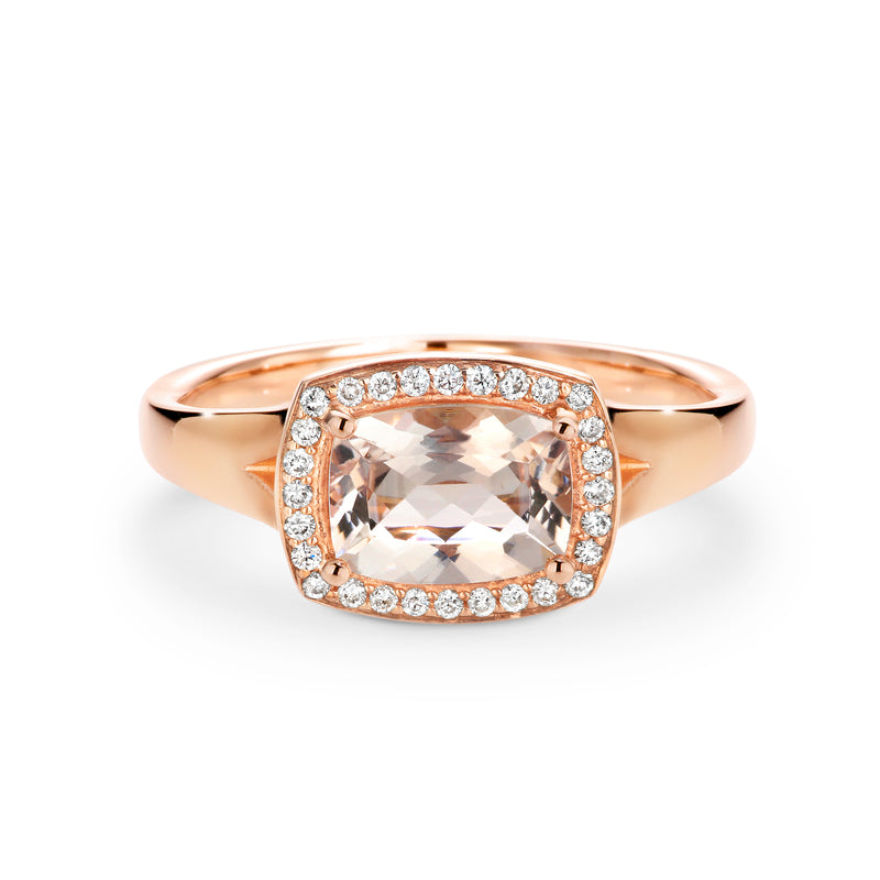 Rose gold diamond and morganite ring