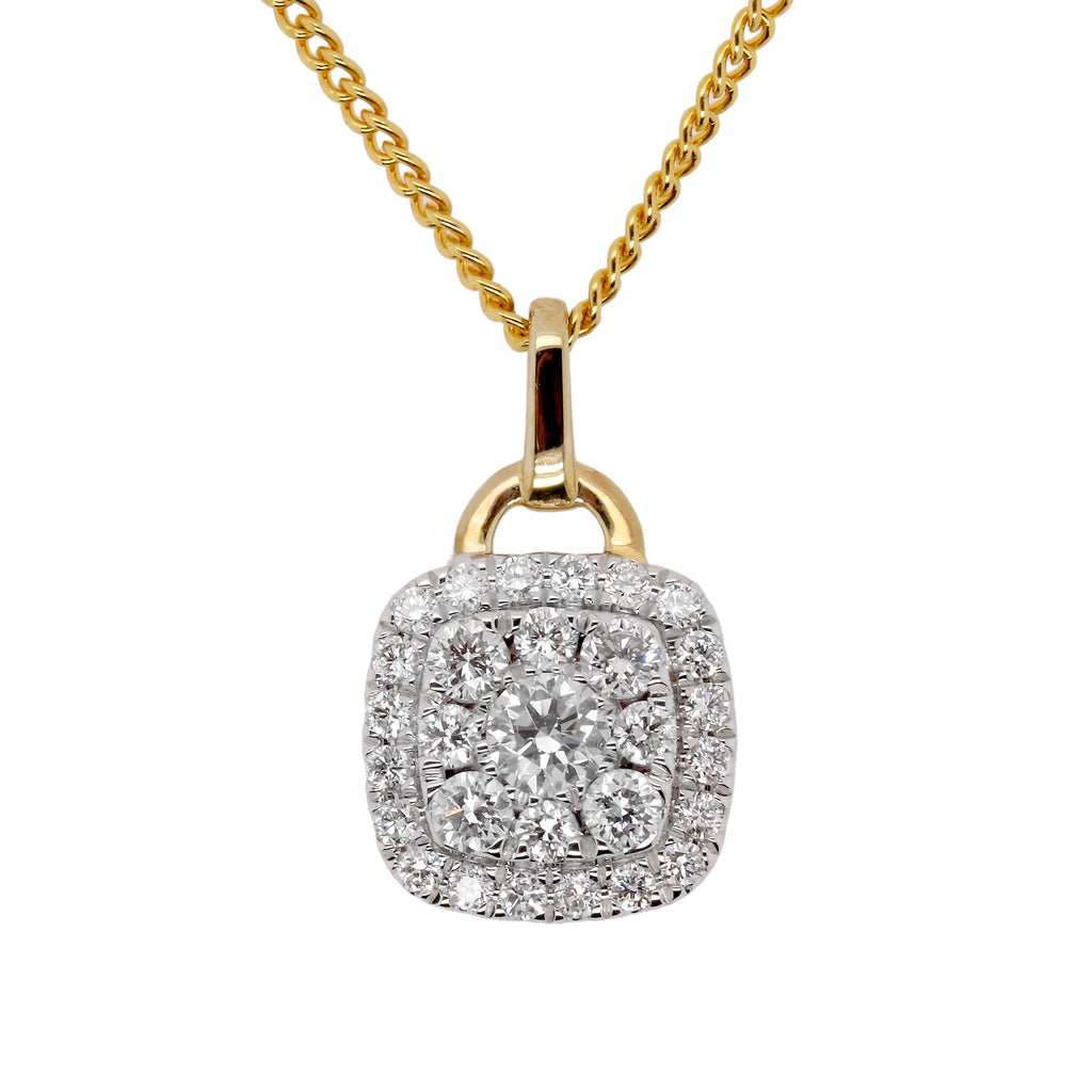 Yellow Gold cushion cluster pendant - Duffs Jewellers