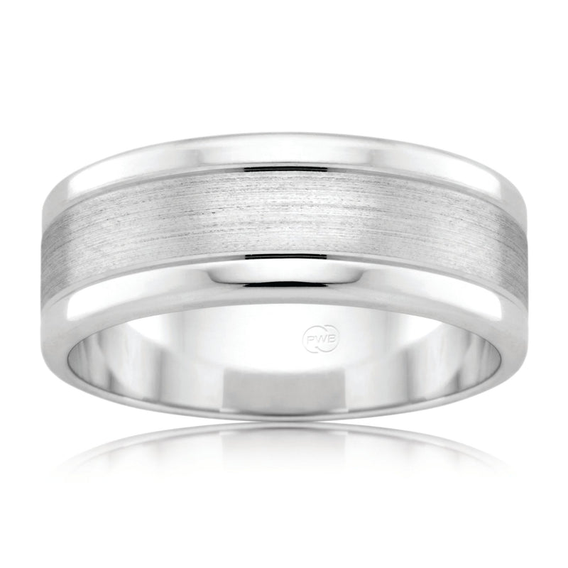 9ct White Gold Wedding Ring Brushed Finish - Duffs Jewellers