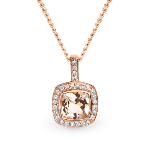 Rose gold diamond and morganite pendan - Duffs Jewellers