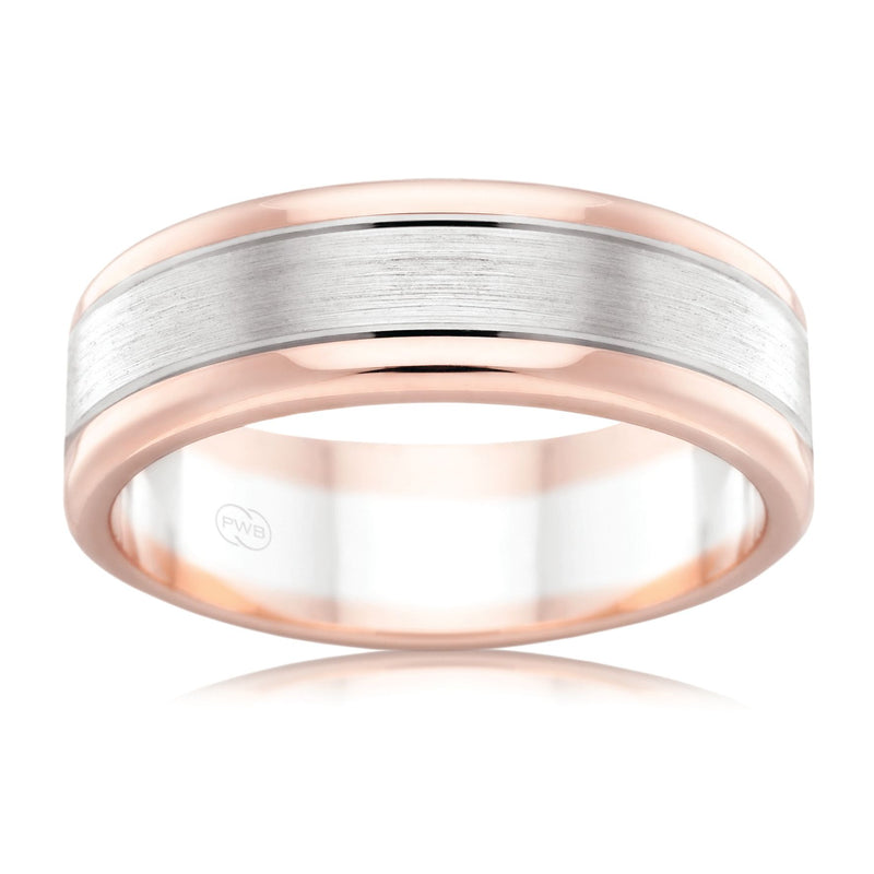 9ct White & Rose Gold 6mm Two Tone Faceted Wedding Ring - Duffs Jewellers