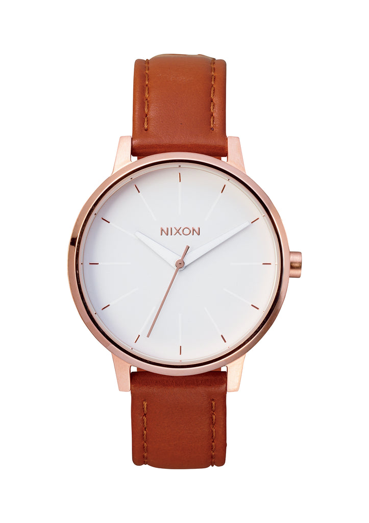 NIXON Kensington Leather | Rose Gold / White - Duffs Jewellers