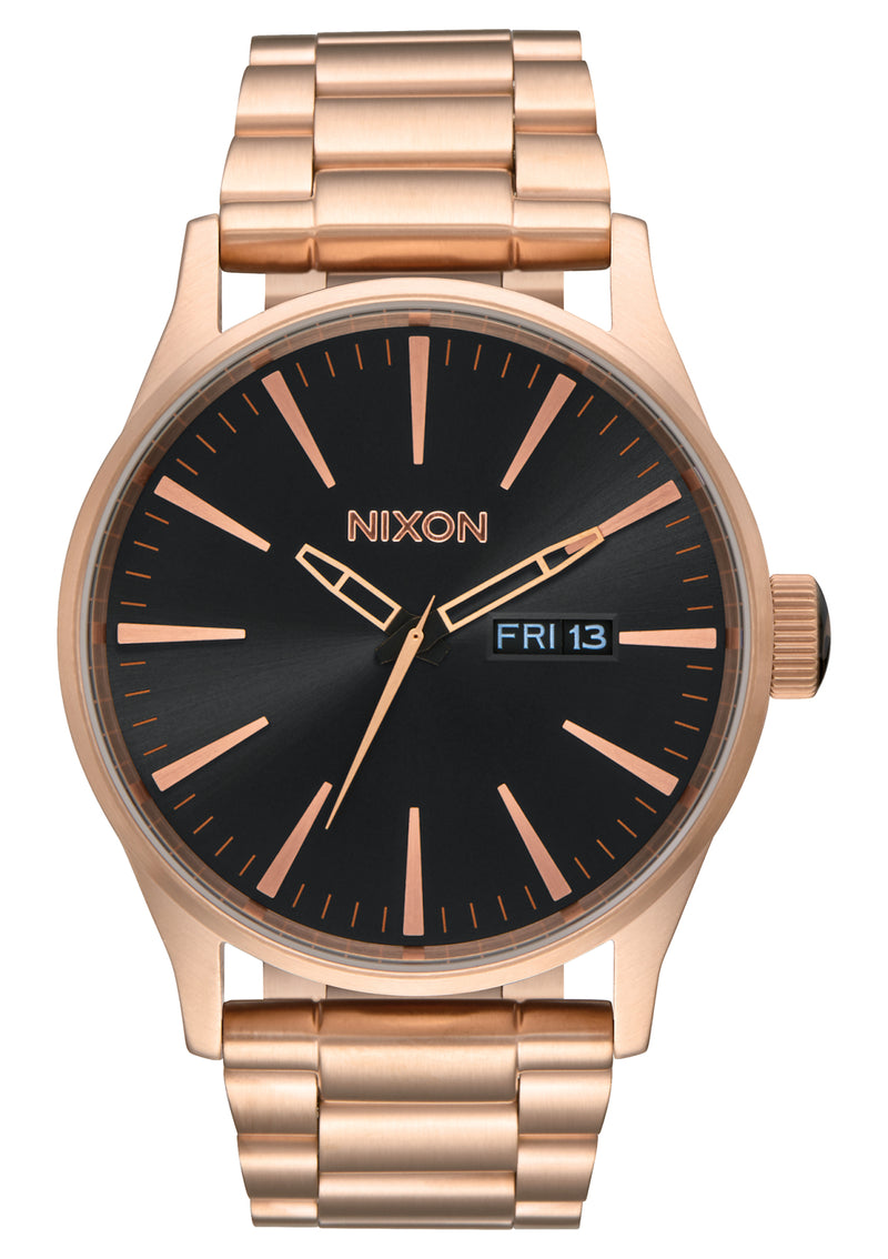 NIXON Sentry Stainless Steel | All Rose Gold / Black - Duffs Jewellers