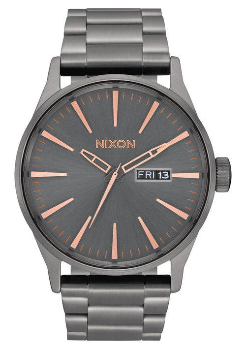 NIXON Sentry Stainless Steel | All Gunmetal / Rose Gold - Duffs Jewellers