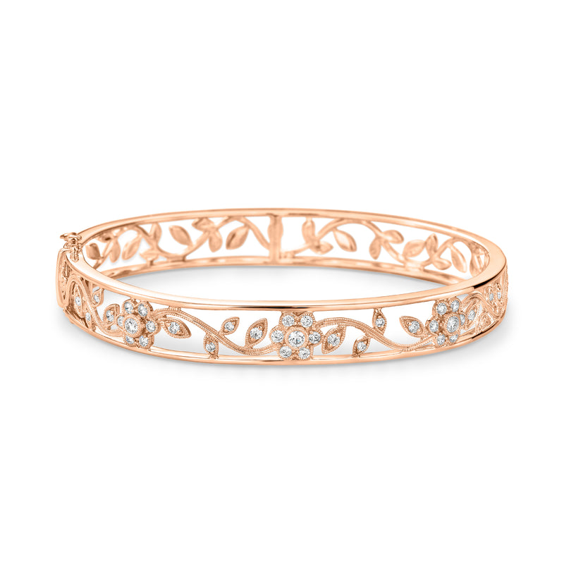 Rose gold diamond filigree bangle