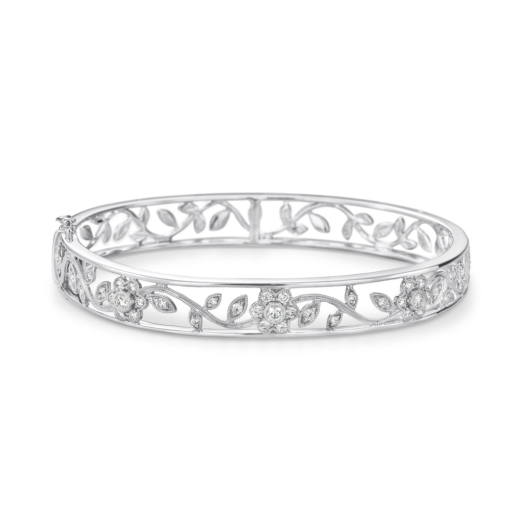 White gold diamond filigree bangle