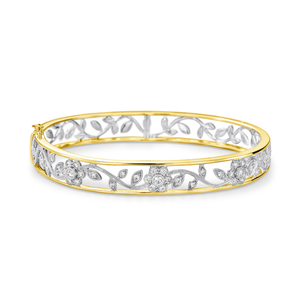 Yellow & White gold diamond filigree bangle