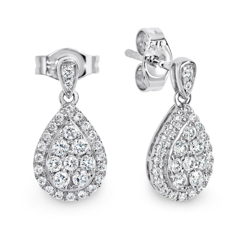 9ct White gold diamond drop earrings - Duffs Jewellers