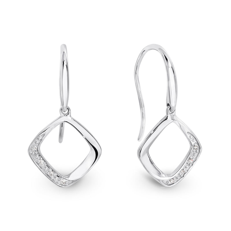 9ct White gold and diamond earrings - Duffs Jewellers