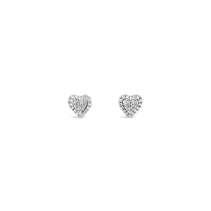 9ct White gold heart earrings
