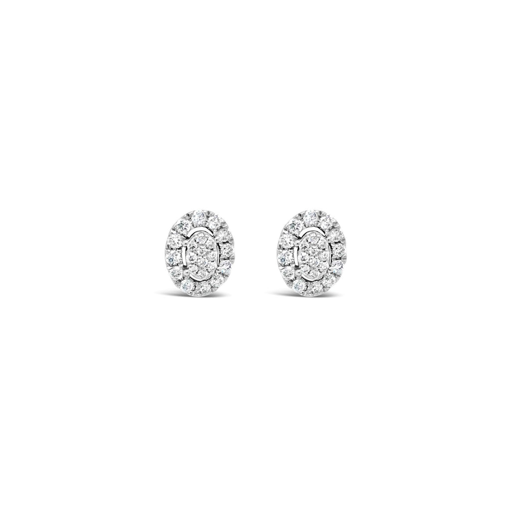 White gold oval cluster earrings