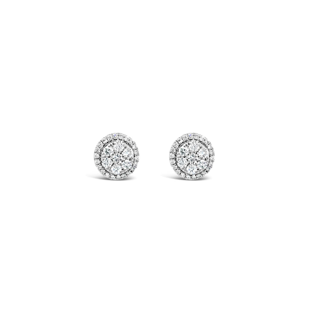Round diamond halo earrings 0.52ct