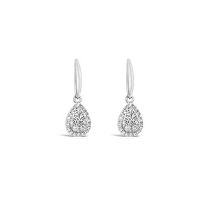 White gold pear shaped cluster earrings