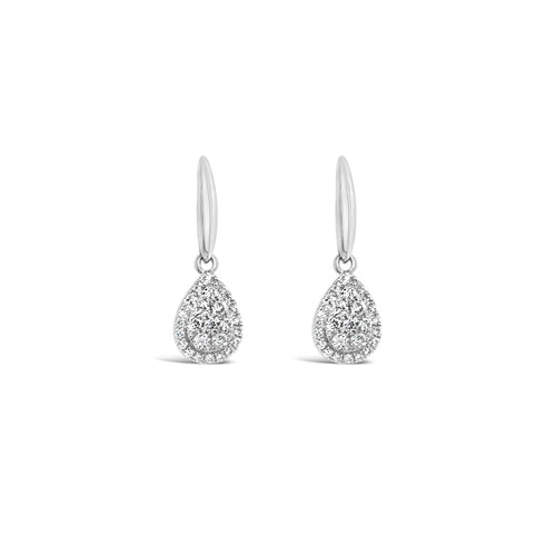 White gold pear shaped cluster earrings - Duffs Jewellers
