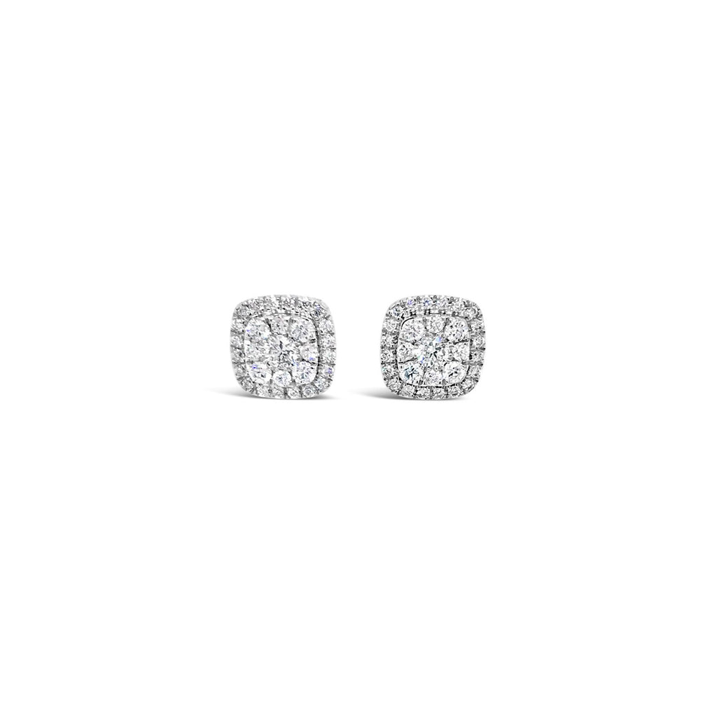 Cushion shaped diamond cluster earrings. 0.34ct - Duffs Jewellers