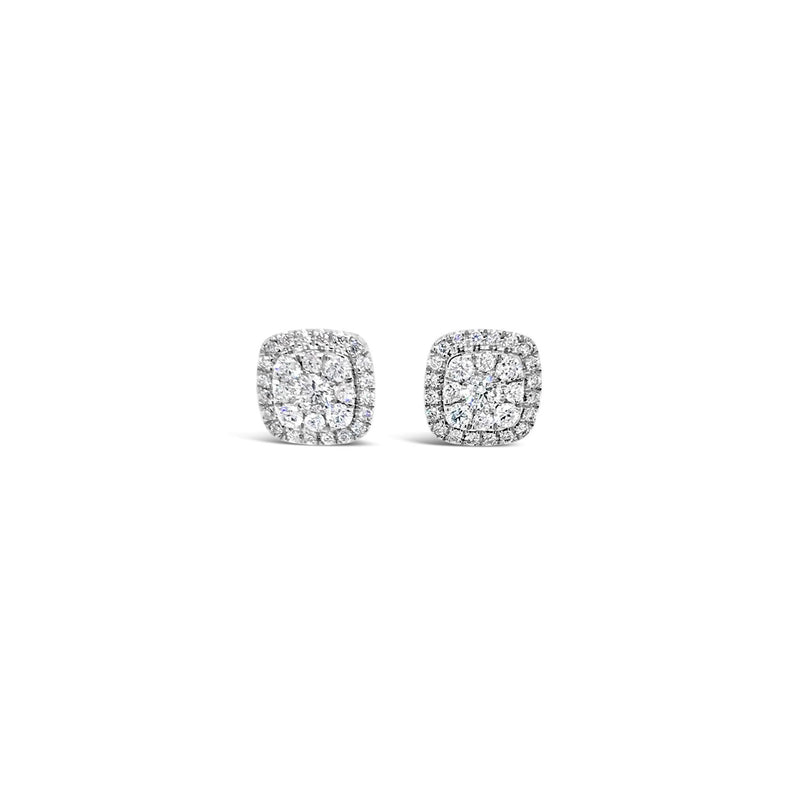 Cushion shaped diamond cluster earrings. 0.34ct