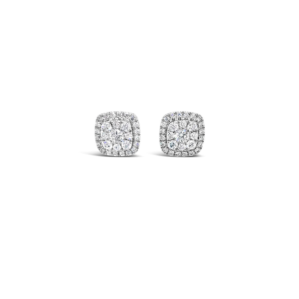 White gold cushion shaped diamond cluster earrings 0.51ct