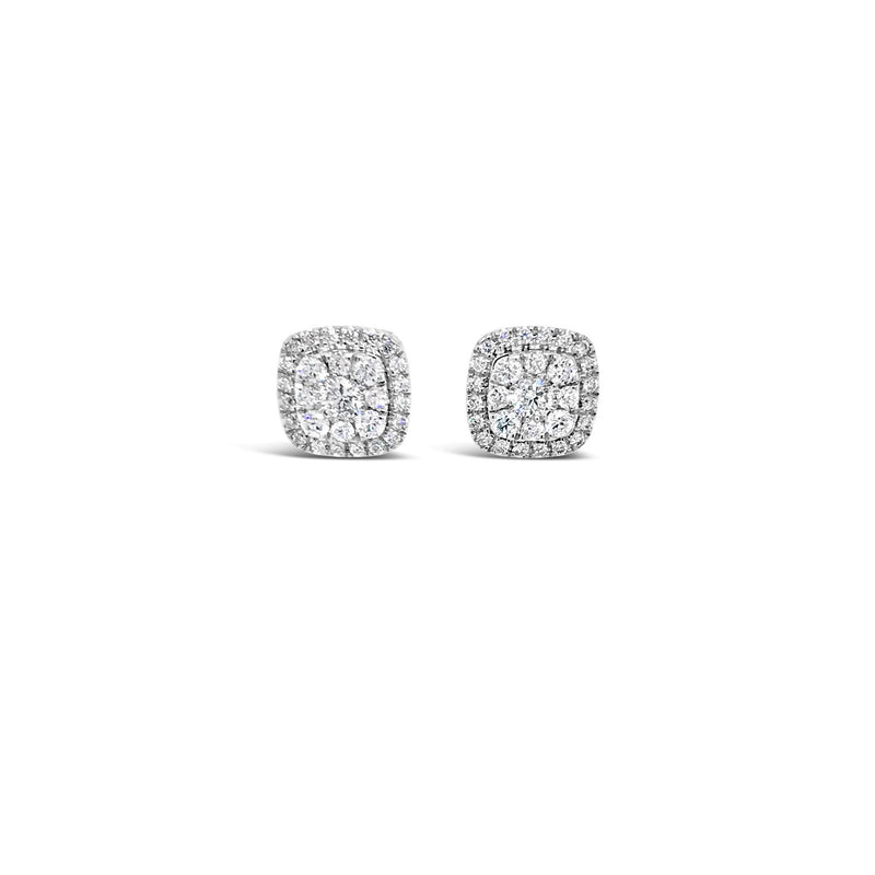 White gold cushion shaped diamond cluster earrings 0.51ct - Duffs Jewellers