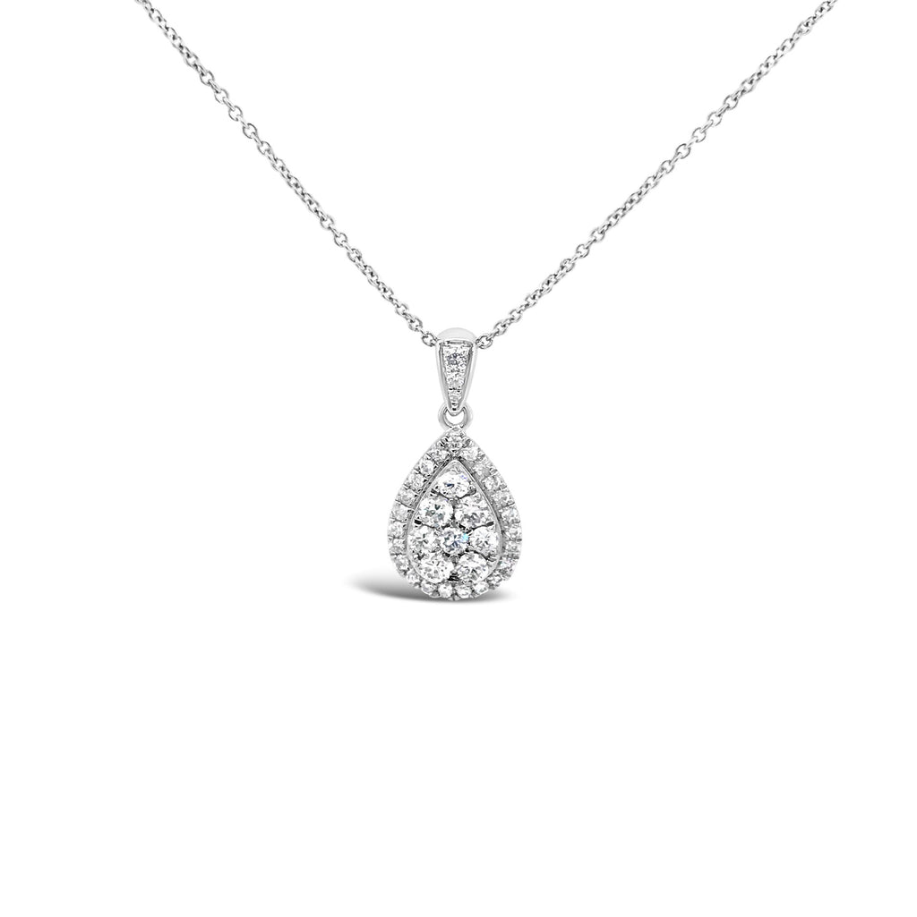 White gold pear shape diamond cluster pendand