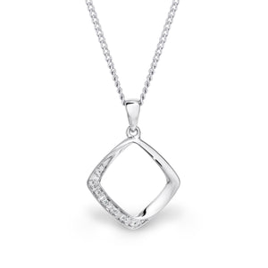 9ct white gold open square pendant