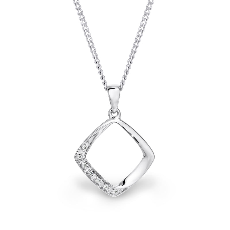 9ct white gold open square pendant - Duffs Jewellers