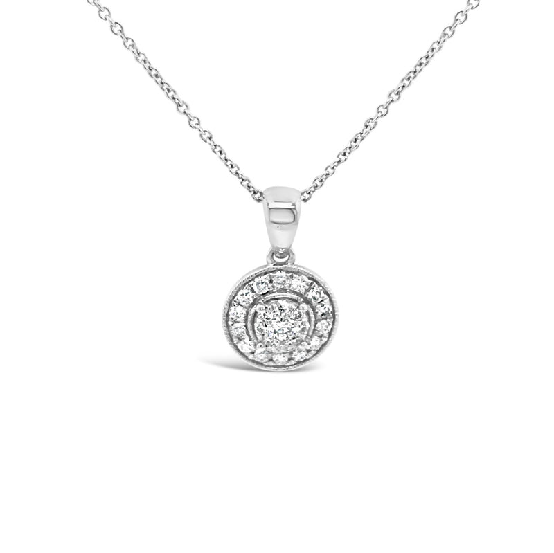 White gold halo cluster pendant - Duffs Jewellers