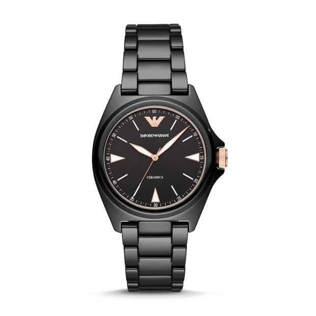 Emporio Armani Black Analogue Watch - Duffs Jewellers