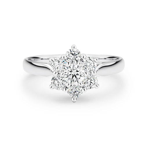 White Gold Star cluster ring - Duffs Jewellers
