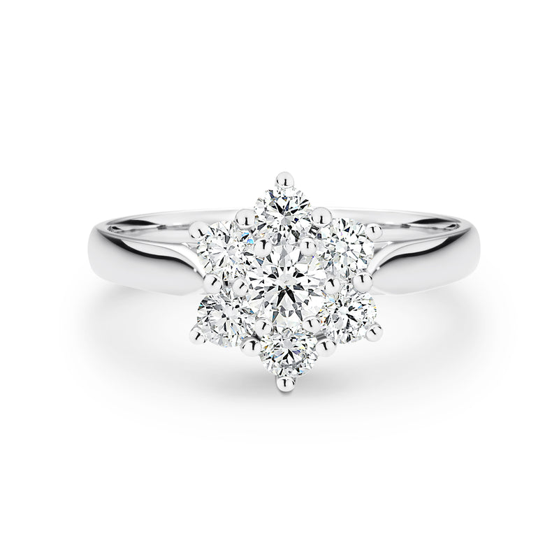 White Gold Star cluster ring
