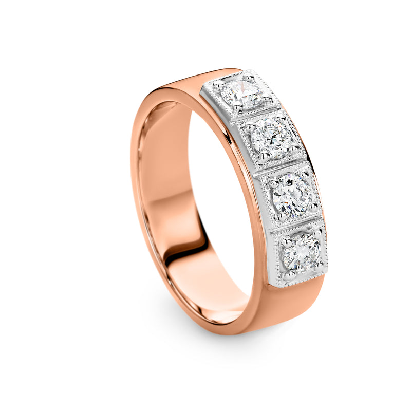 Square set Diamond Ring 0.60ct Rose gold