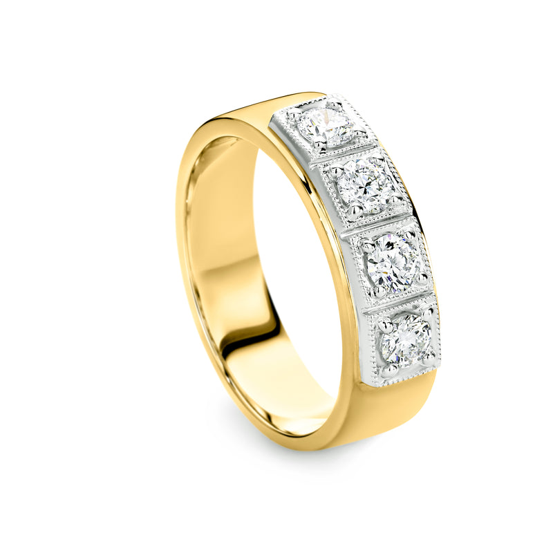 Square set Diamond Ring 0.60ct Yellow gold