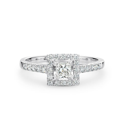 Princess Cut Diamond Halo Ring 0.62ct TDW - Duffs Jewellers